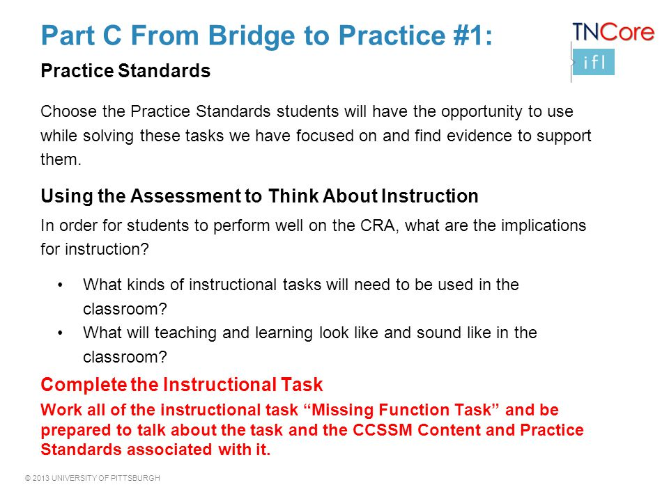 Part C From Bridge to Practice #1: