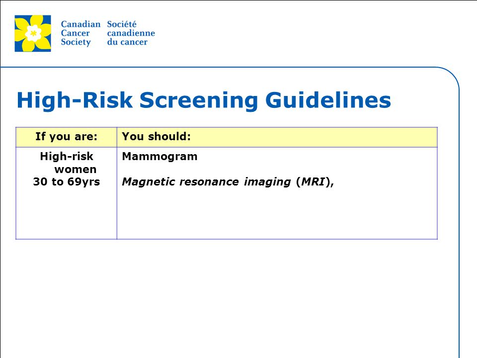 High-Risk Screening Guidelines
