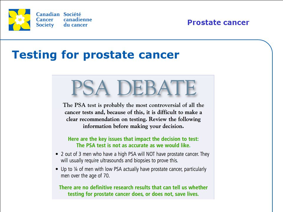Testing for prostate cancer