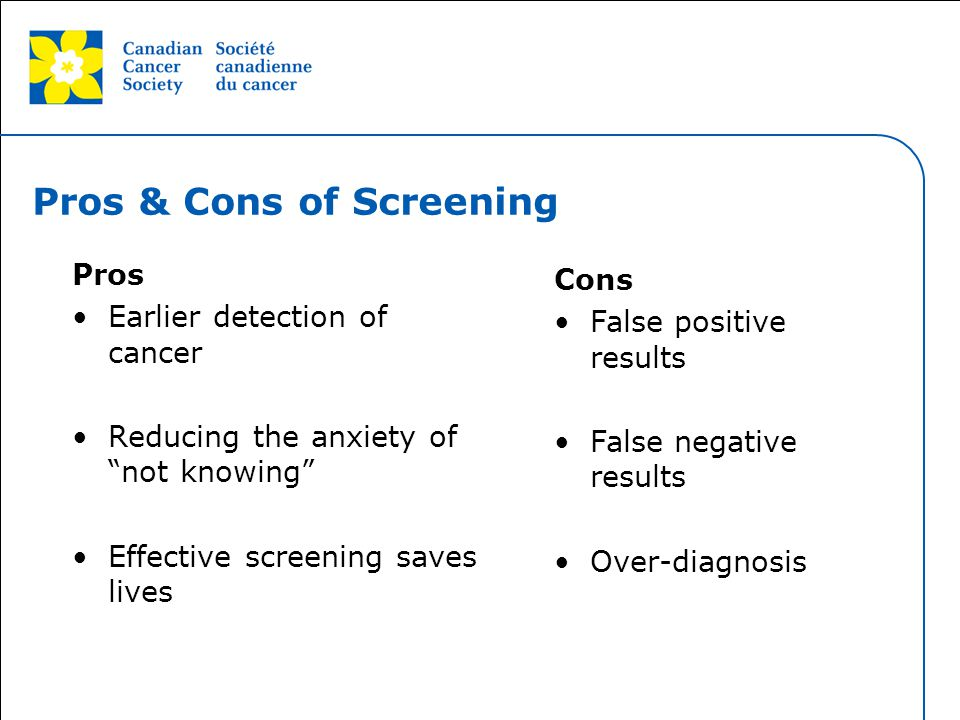 Pros & Cons of Screening