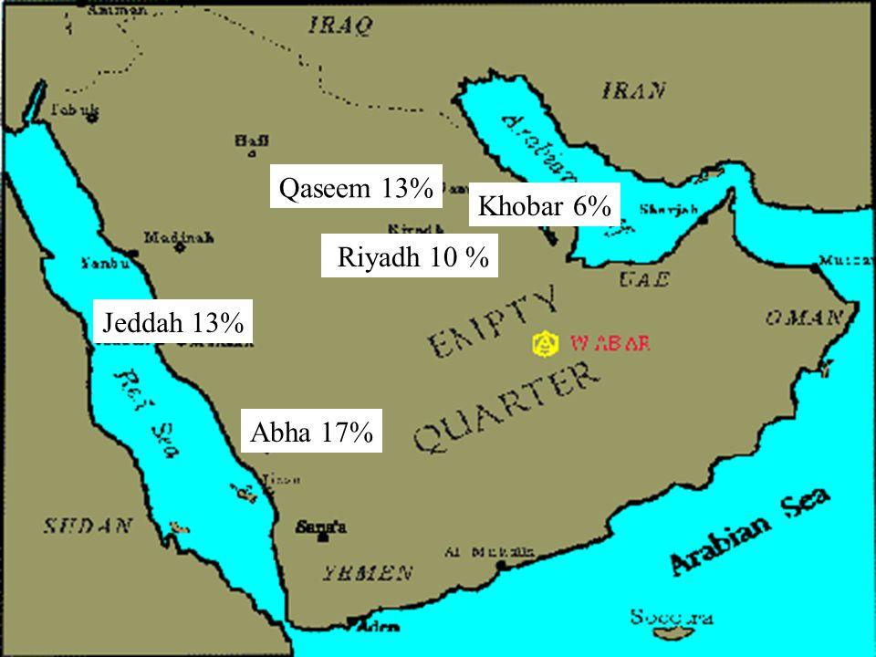 Qaseem 13% Khobar 6% Riyadh 10 % Jeddah 13% Abha 17%