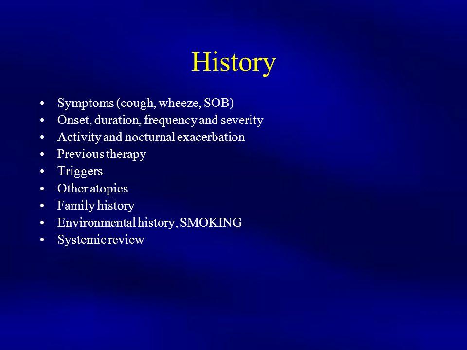 History Symptoms (cough, wheeze, SOB)