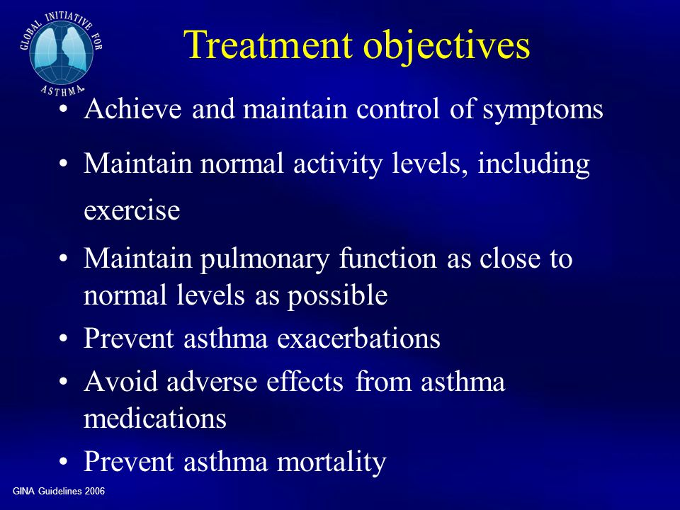 Treatment objectives Achieve and maintain control of symptoms
