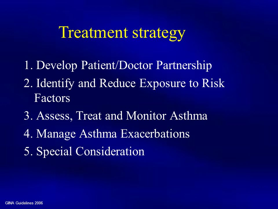Treatment strategy 1. Develop Patient/Doctor Partnership