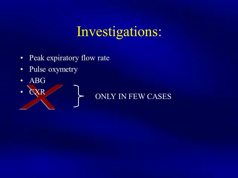 Investigations: X Peak expiratory flow rate Pulse oxymetry ABG CXR