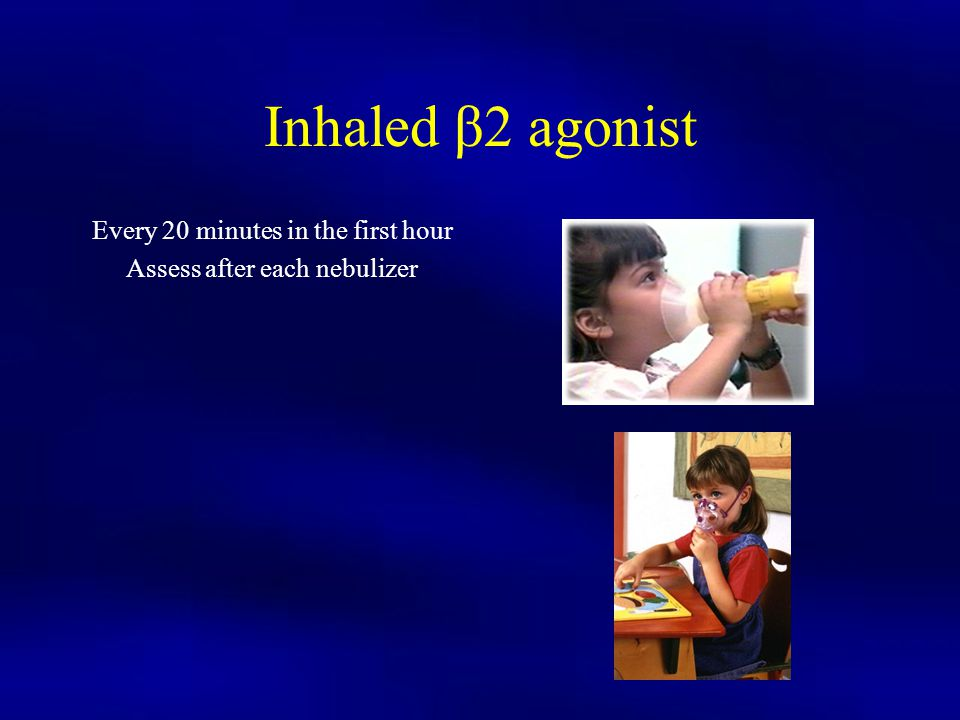 Inhaled β2 agonist Every 20 minutes in the first hour