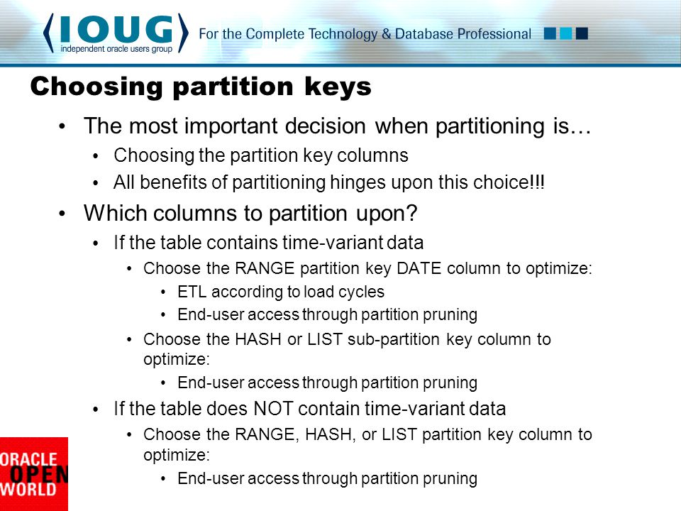 Choosing partition keys