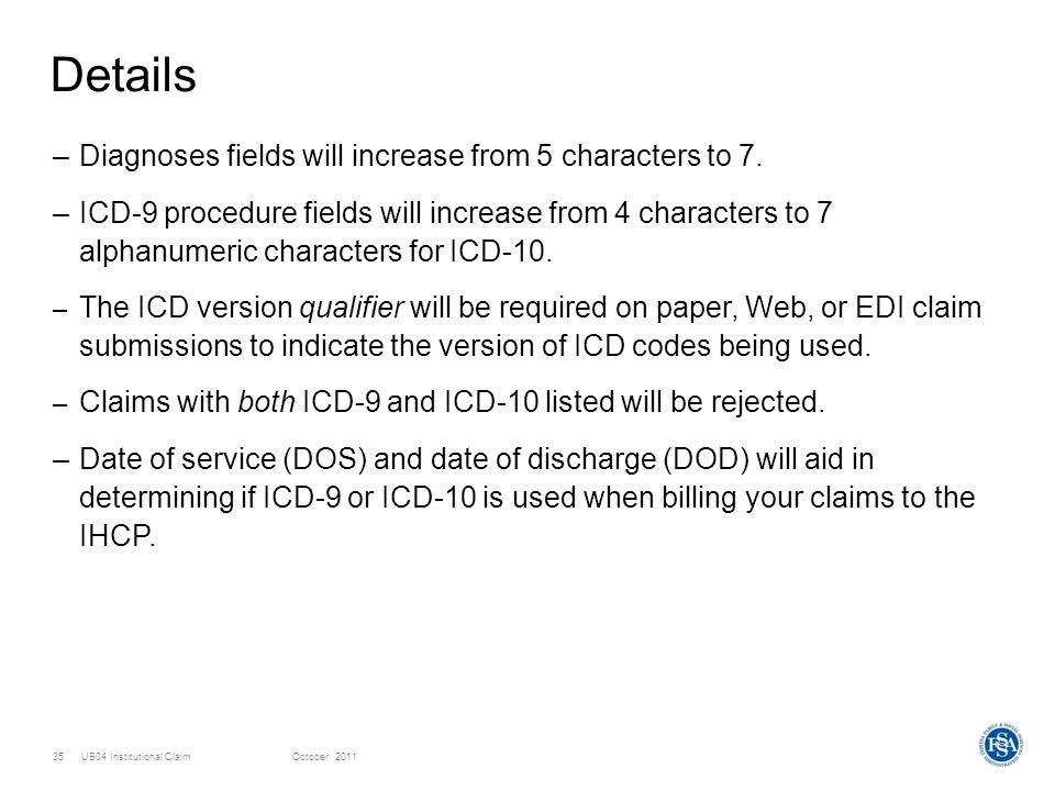 Details Diagnoses fields will increase from 5 characters to 7.