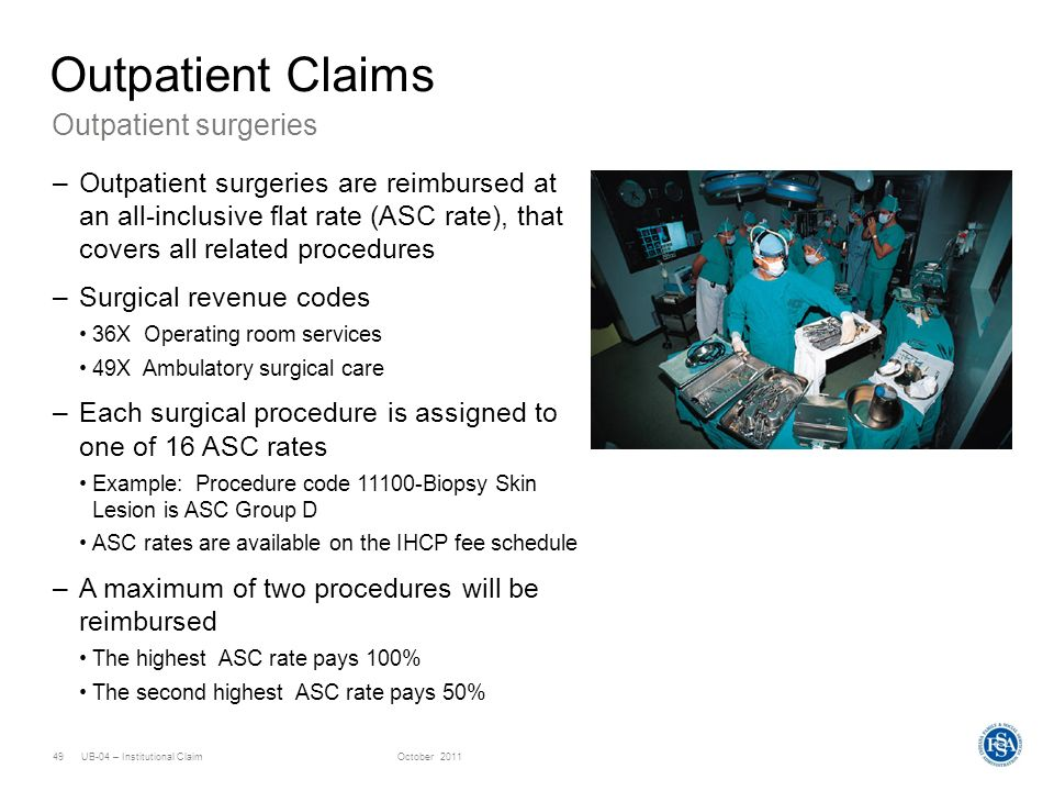 Outpatient Claims Outpatient surgeries
