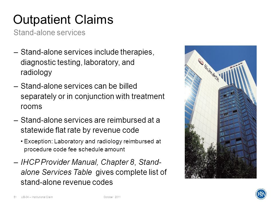 Outpatient Claims Stand-alone services