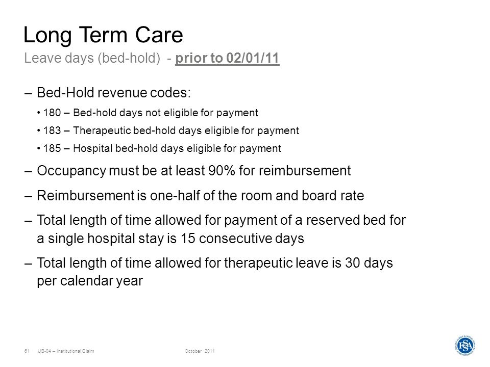 Long Term Care Leave days (bed-hold) - prior to 02/01/11