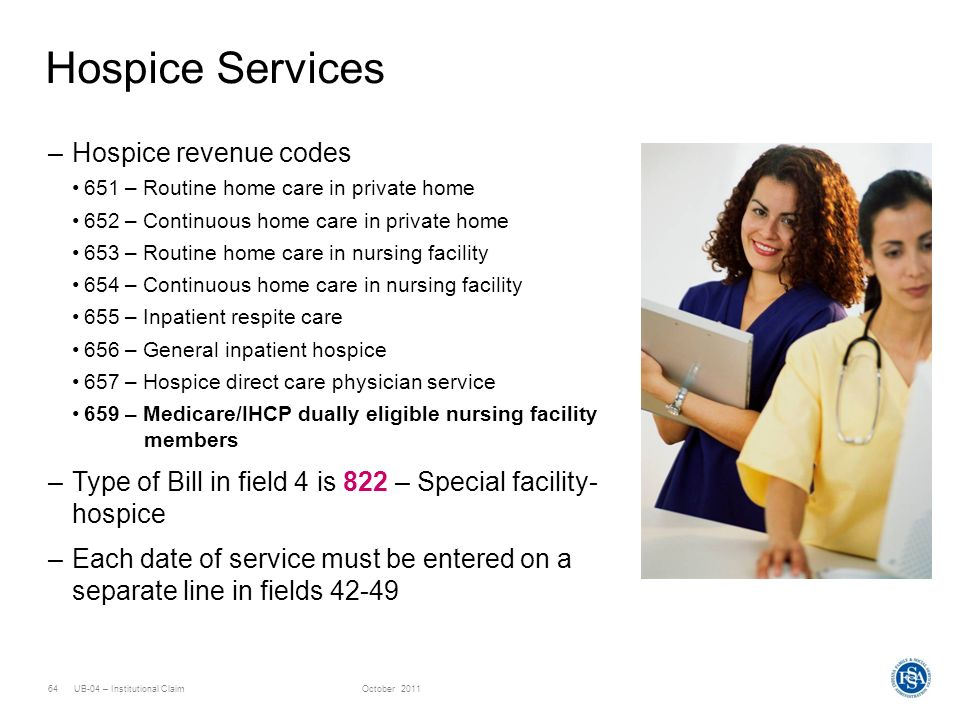Hospice Services Hospice revenue codes