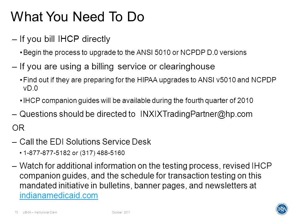 What You Need To Do If you bill IHCP directly