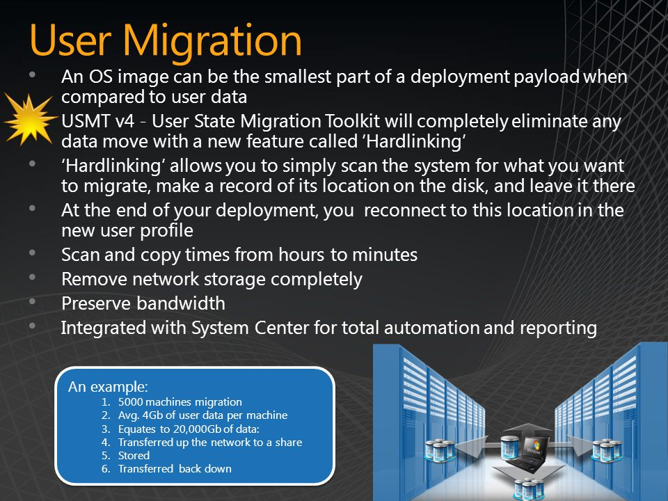 User Migration An OS image can be the smallest part of a deployment payload when compared to user data.