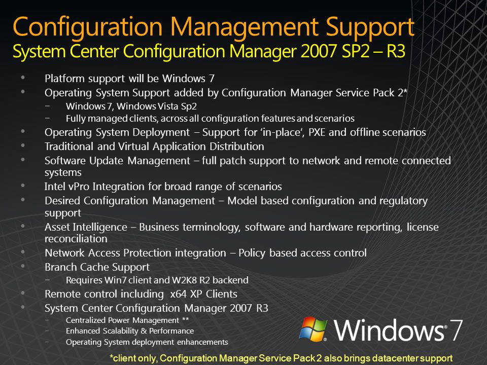 Configuration Management Support System Center Configuration Manager 2007 SP2 – R3