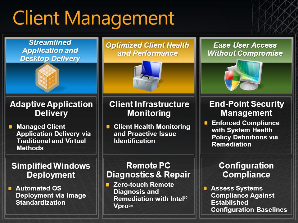 Client Management Adaptive Application Delivery