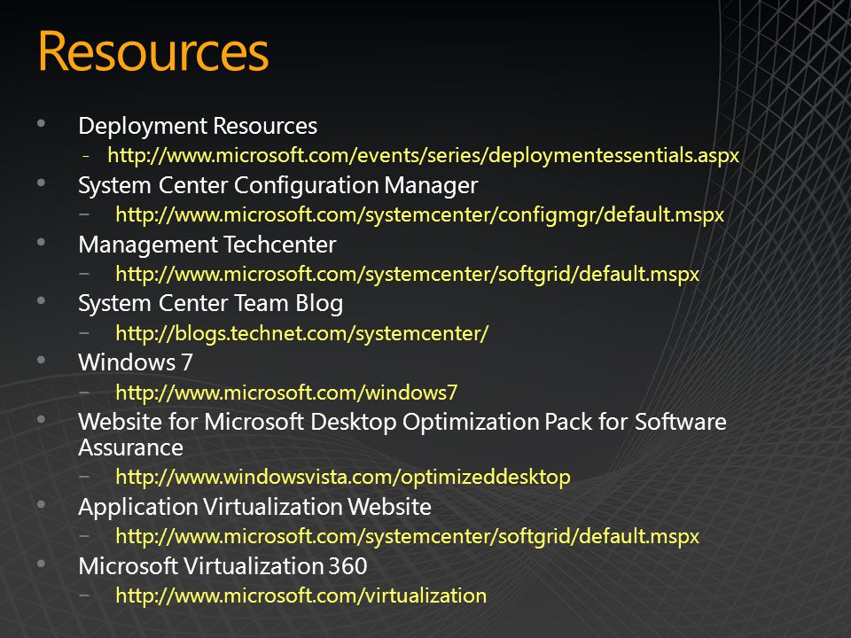 Resources Deployment Resources System Center Configuration Manager