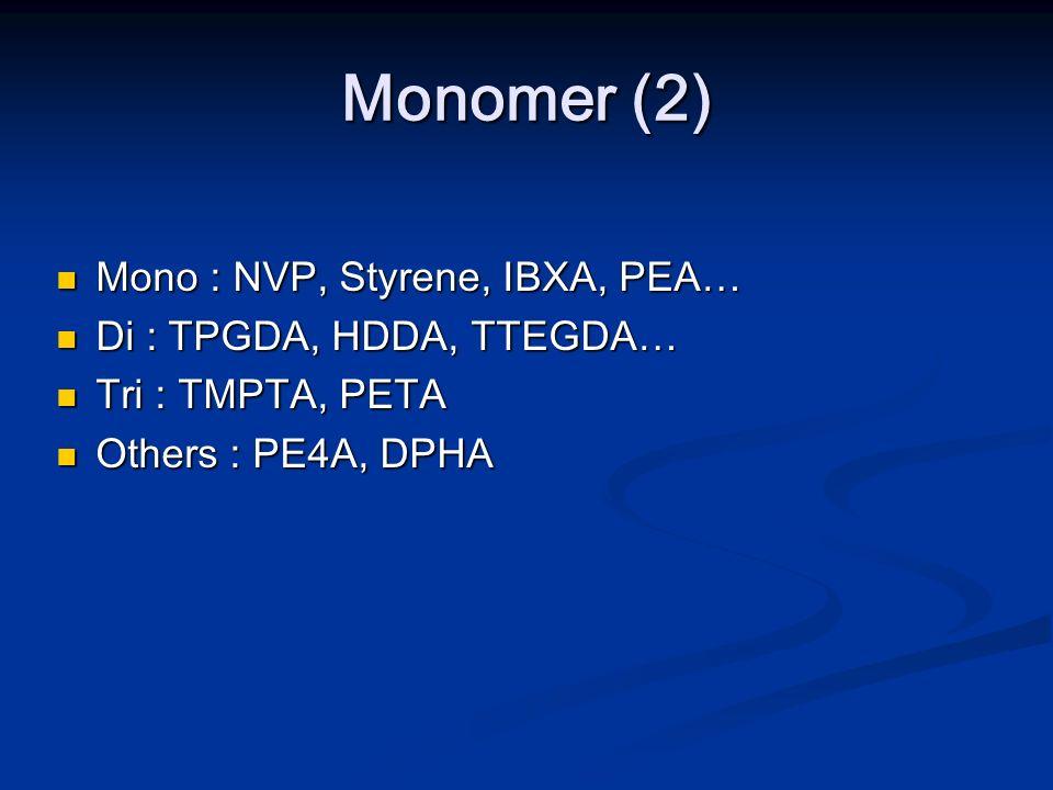Monomer (2) Mono : NVP, Styrene, IBXA, PEA… Di : TPGDA, HDDA, TTEGDA…