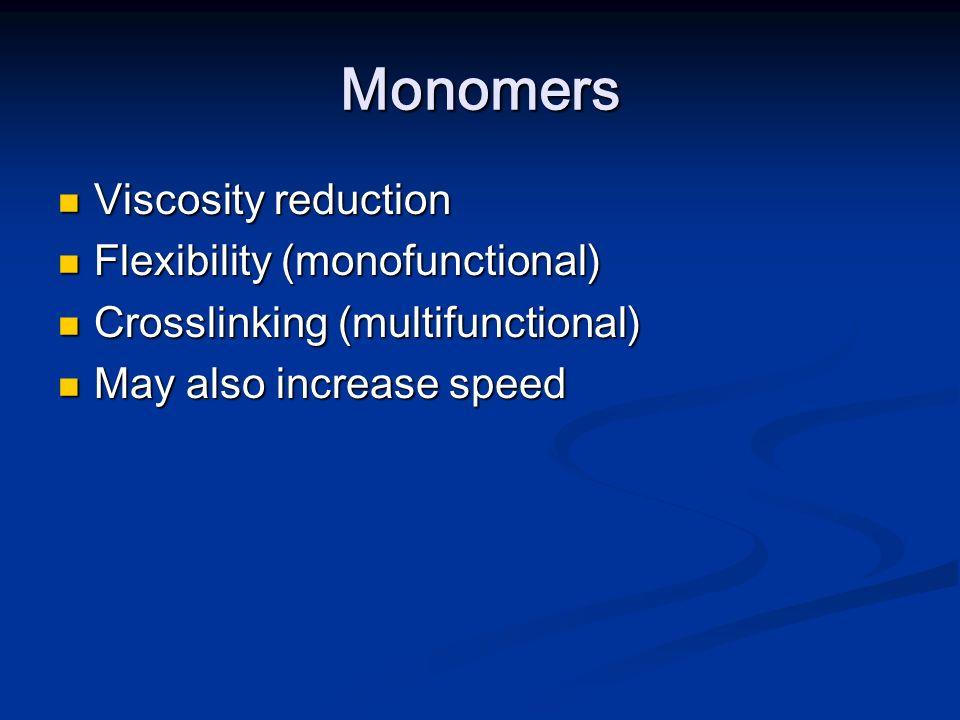 Monomers Viscosity reduction Flexibility (monofunctional)