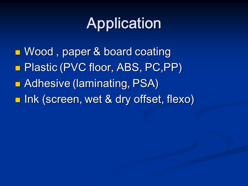 Application Wood , paper & board coating
