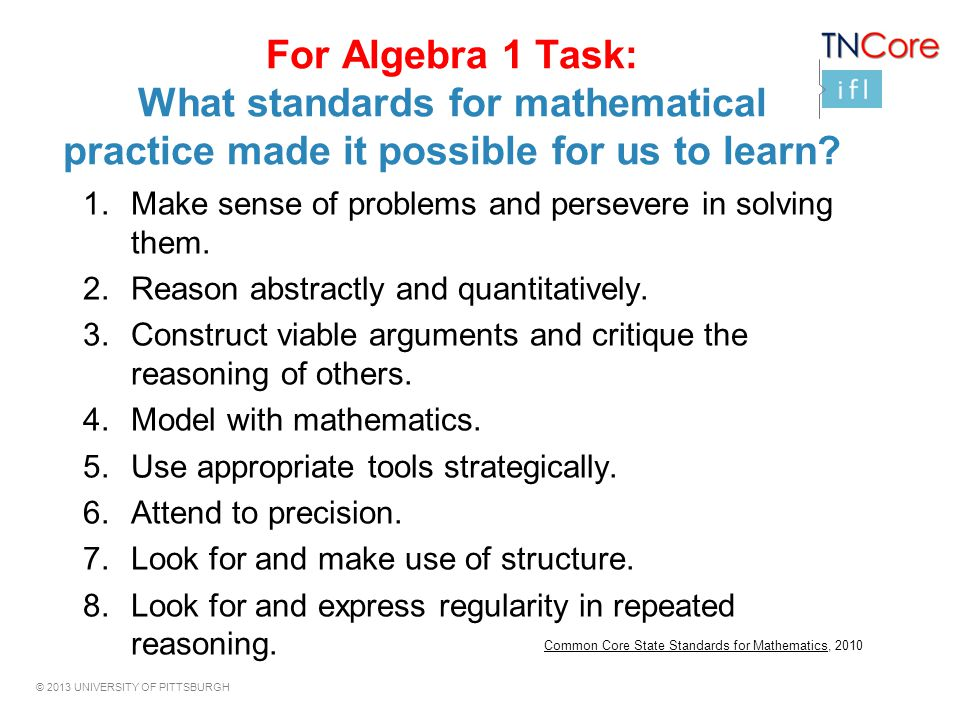 For Algebra 1 Task: What standards for mathematical practice made it possible for us to learn