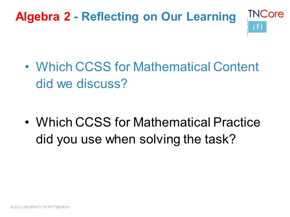Algebra 2 - Reflecting on Our Learning
