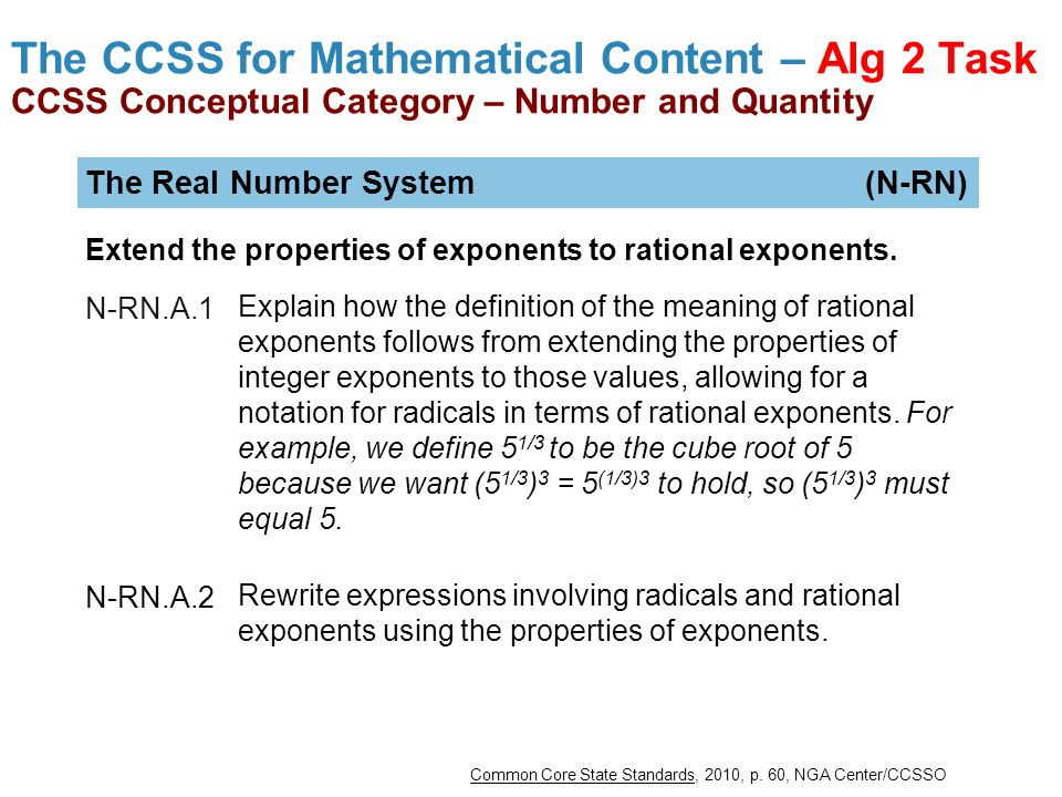 The CCSS for Mathematical Content – Alg 2 Task CCSS Conceptual Category – Number and Quantity