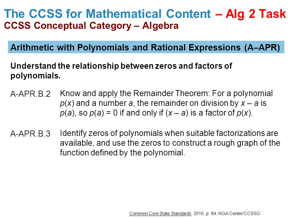 The CCSS for Mathematical Content – Alg 2 Task CCSS Conceptual Category – Algebra
