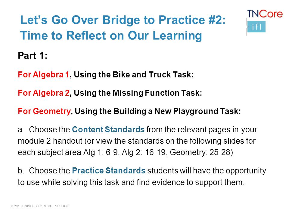 Let's Go Over Bridge to Practice #2: Time to Reflect on Our Learning