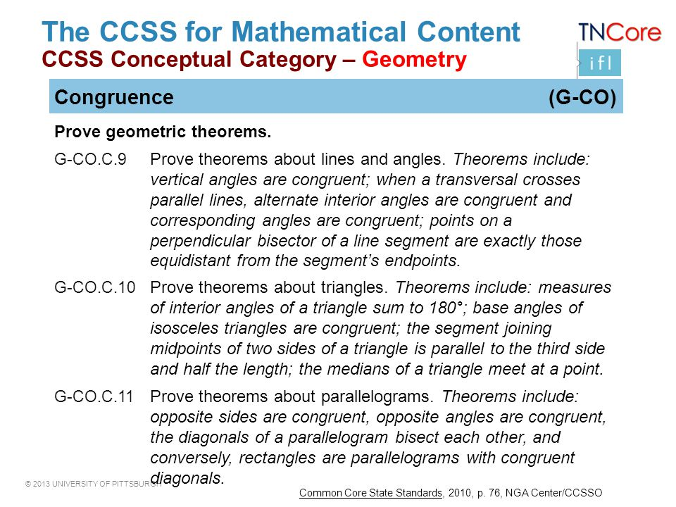 The CCSS for Mathematical Content CCSS Conceptual Category – Geometry