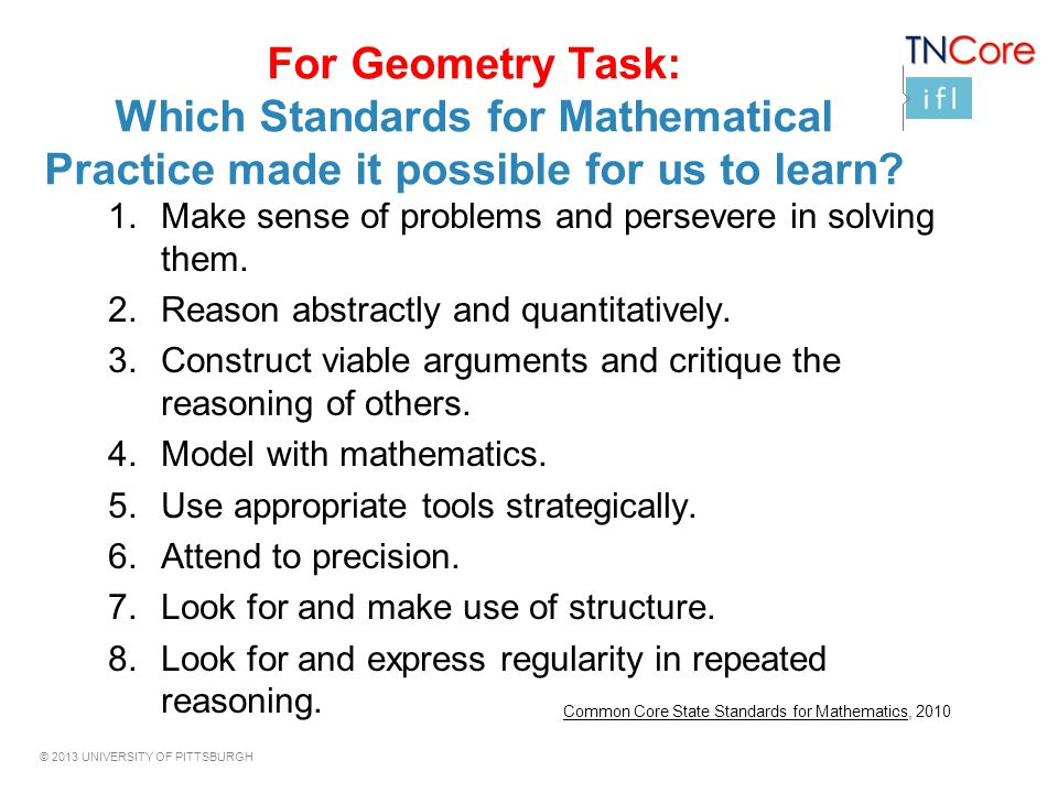 For Geometry Task: Which Standards for Mathematical Practice made it possible for us to learn
