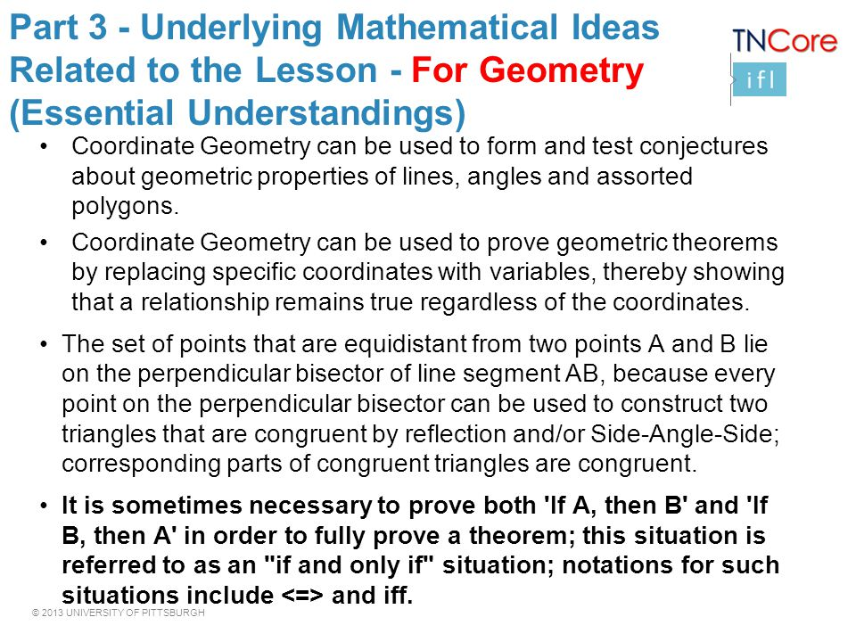 Part 3 - Underlying Mathematical Ideas Related to the Lesson - For Geometry (Essential Understandings)