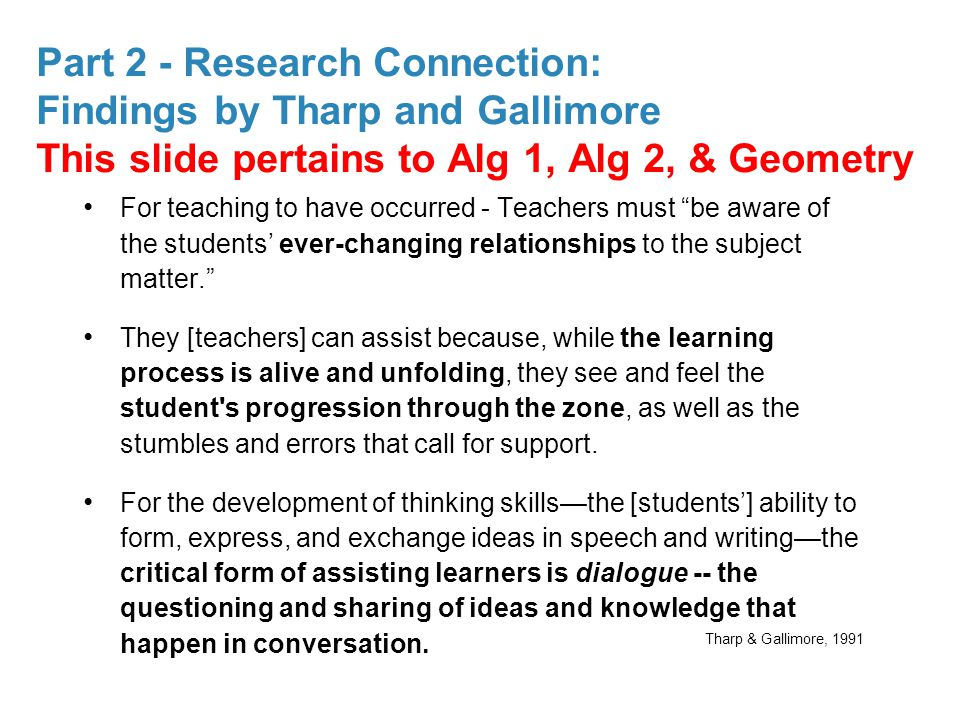 Part 2 - Research Connection: Findings by Tharp and Gallimore This slide pertains to Alg 1, Alg 2, & Geometry