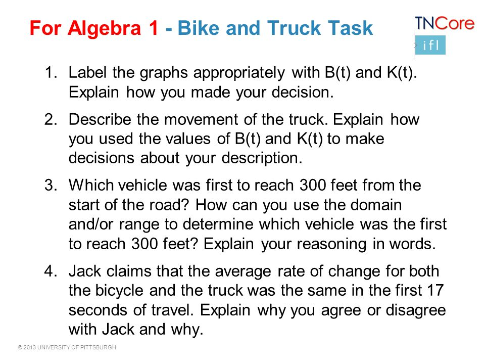 For Algebra 1 - Bike and Truck Task