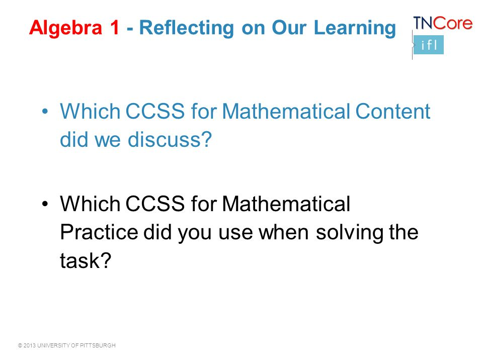 Algebra 1 - Reflecting on Our Learning