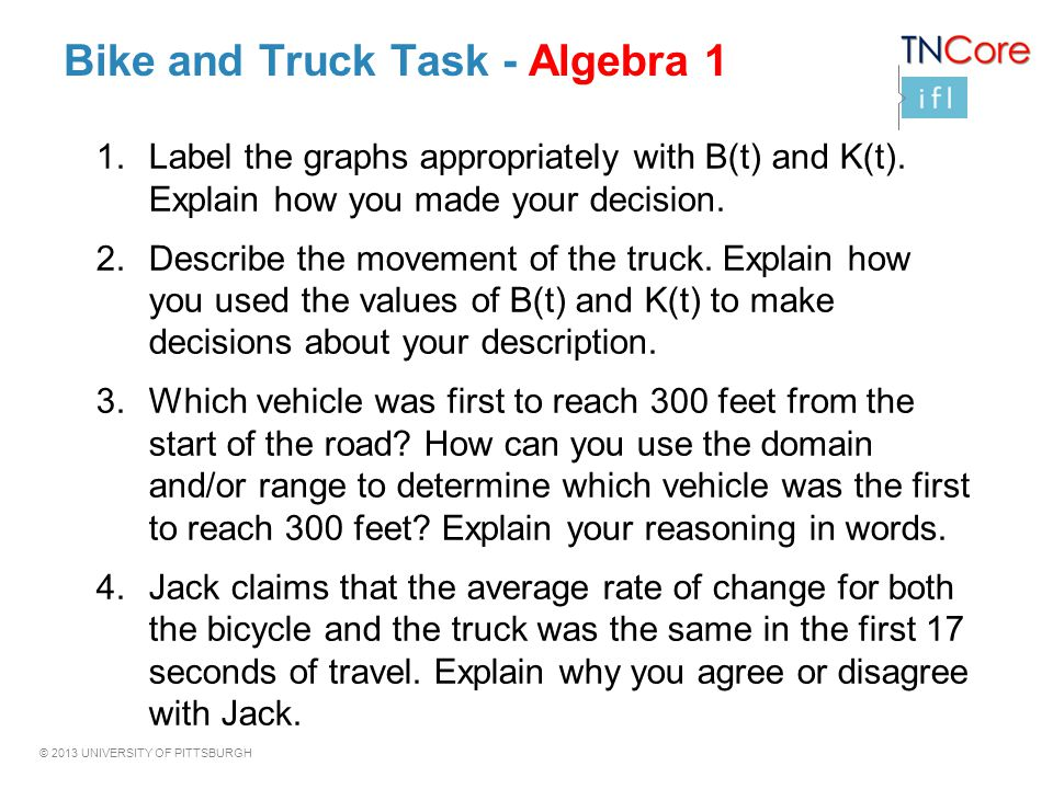 Bike and Truck Task - Algebra 1