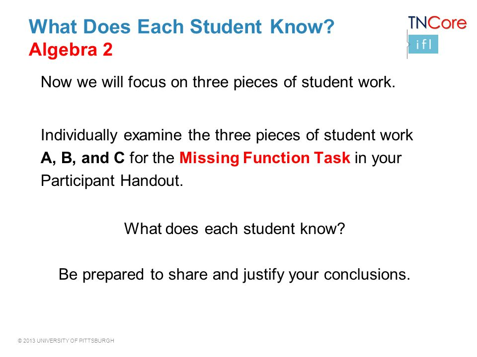 What Does Each Student Know Algebra 2