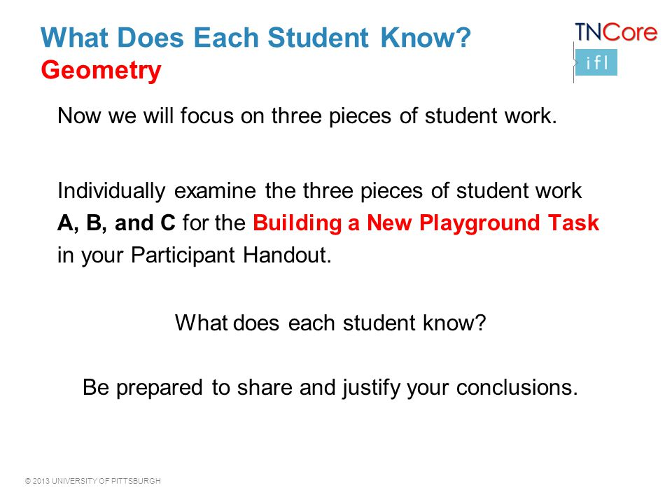 What Does Each Student Know Geometry