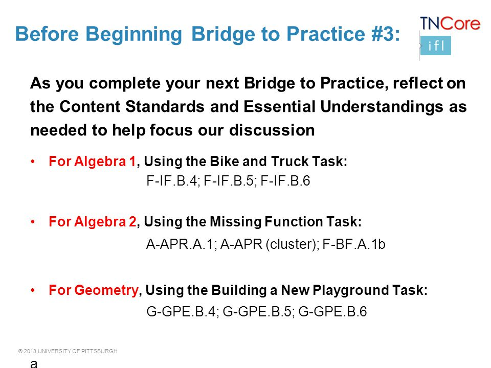 Before Beginning Bridge to Practice #3: