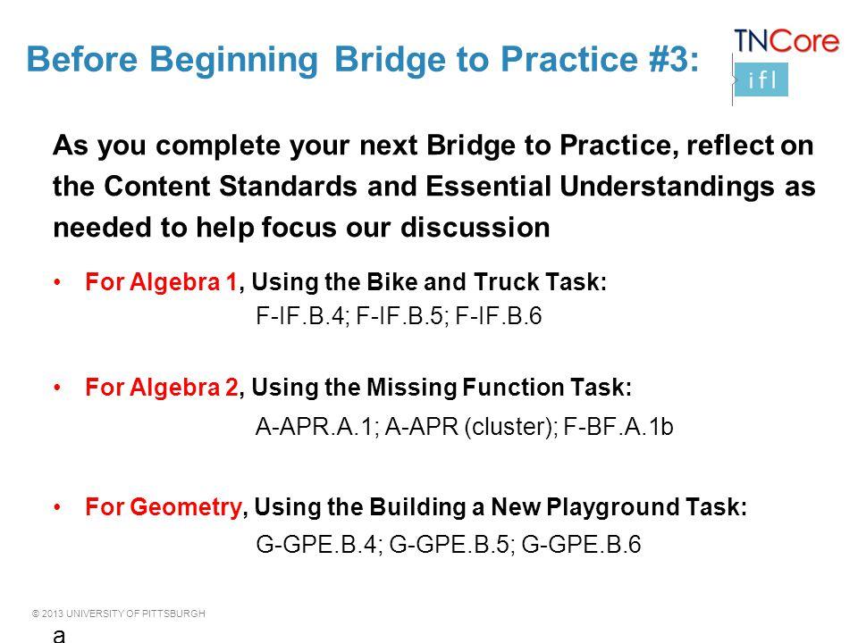 Before Beginning Bridge to Practice #3:
