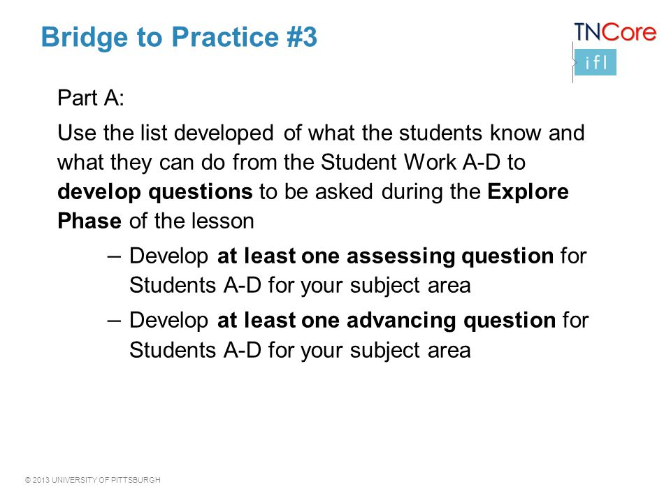 Bridge to Practice #3 Part A: