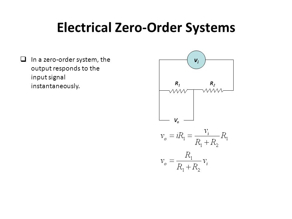 Electrical Zero-Order Systems