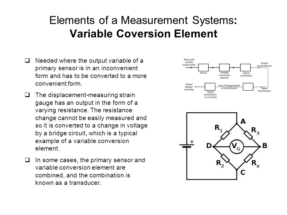 Elements of a Measurement Systems: Variable Coversion Element
