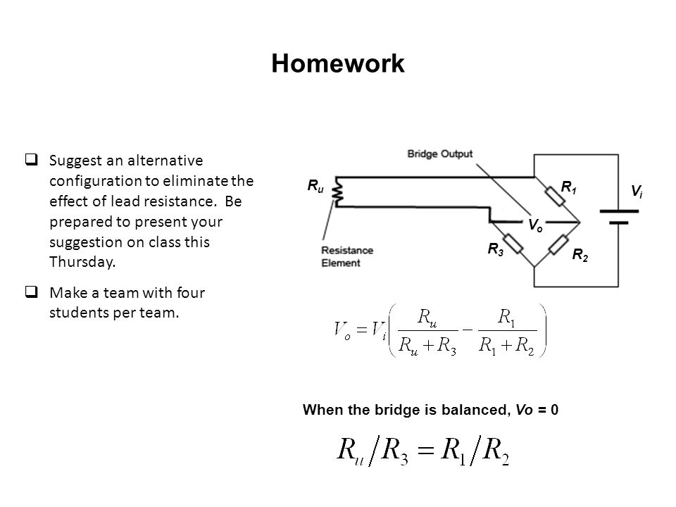 When the bridge is balanced, Vo = 0