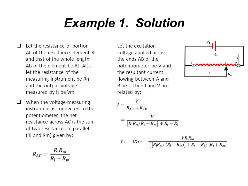 Example 1. Solution A. Vs. Vo. x. L. C. B.