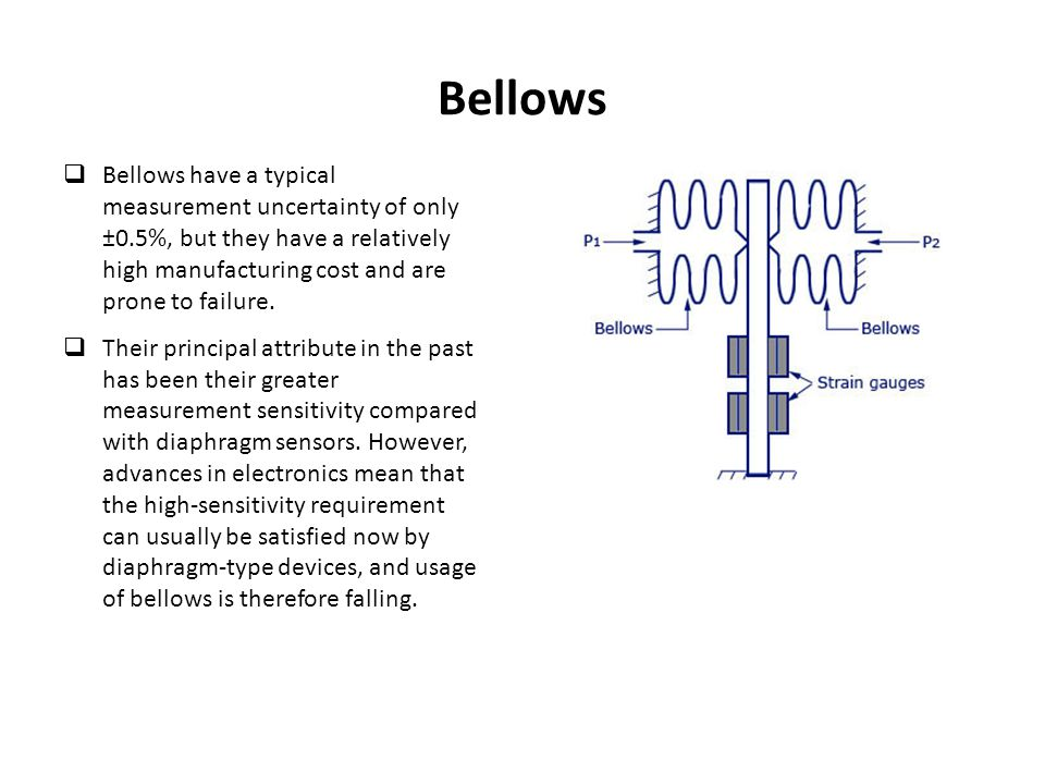 Bellows Bellows have a typical measurement uncertainty of only ±0.5%, but they have a relatively high manufacturing cost and are prone to failure.