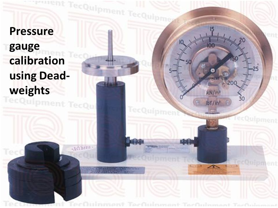 Pressure gauge calibration using Dead-weights