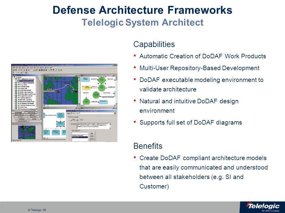 Defense Architecture Frameworks Telelogic System Architect