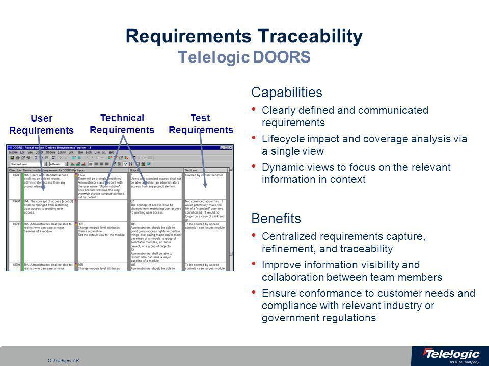Requirements Traceability Telelogic DOORS