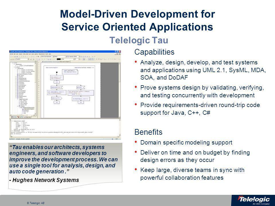 Model-Driven Development for Service Oriented Applications Telelogic Tau